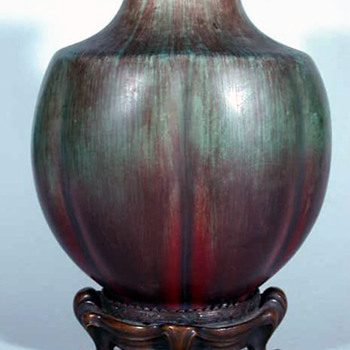 Eugene Baudin Vase with Bronze Base Attributed to Hector Guimard