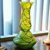 "Nouveau Bohemian Amethyst Thread Green Iridized Bulb Vase 12.75"""