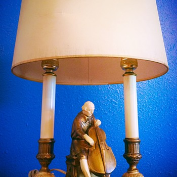 "Signed J.B. HIRSCH/MOREAU Art Deco ""The Cellist"" Lamp w/Original Shade"