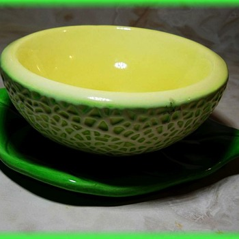 Cantaloupe Bowl -- Ceramic -- **ACTUALLY HONEY DEW MELON** - Art Pottery