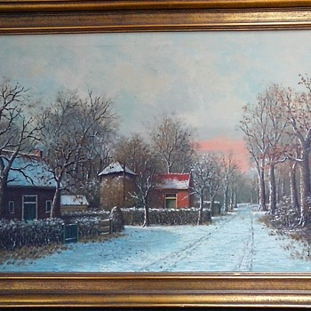 "J. Laming ""Winter Landscape"" Oil On Canvas / 24"" x 36"" / Circa Mid 20th Century - Fine Art"