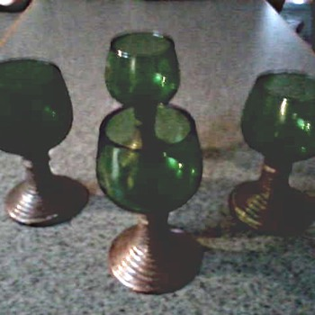 Set of Four Green Glass and Metal Aperitifs / Uknown Maker and Age - Glassware