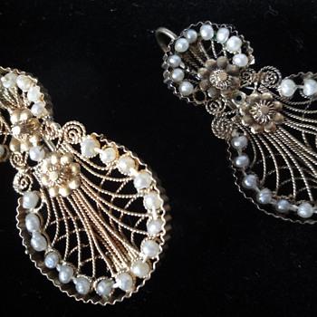14K gold Filigree Seed Pearl Earrings  - Fine Jewelry
