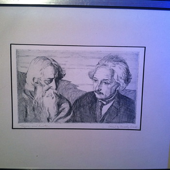 Tajore & Einstein Etching by Dorothy schiller - Posters and Prints