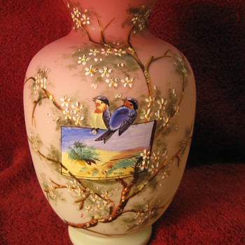 Harrach? Enameled Uranium Peach Satin Vase