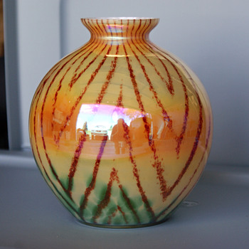 Kralik herringbone iridescence ball vase - Art Glass