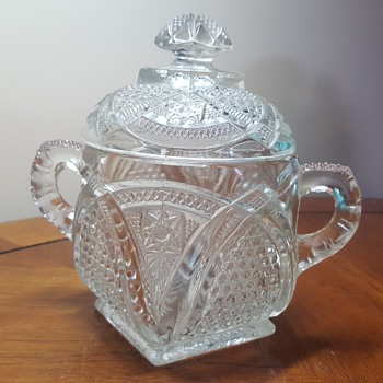 2 Handled Glass Covered Sugar Bowl - Glassware