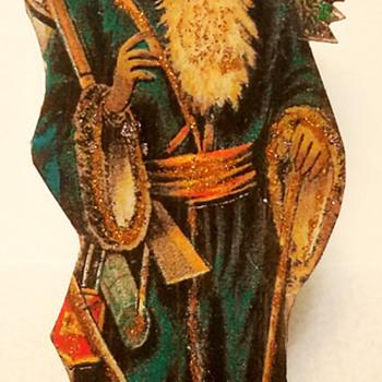 C 1900 Dresden Cutout Cardboard Blue Coat Santa Claus Figure