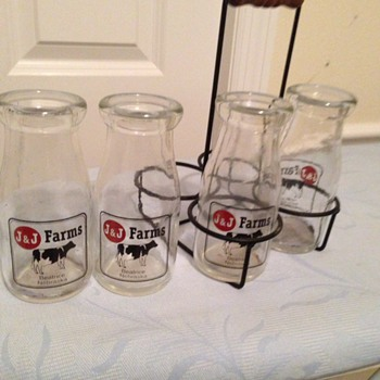 J & J Farms Milk Bottles and Carrier  from Beatrice, Nebraska - Bottles