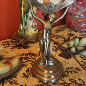 An Art Deco lady lamp without her Light Lens