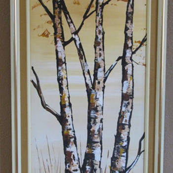 Vintage Oil on Canvas &quot;Fall Birch Trees&quot; - Mid Century Modern