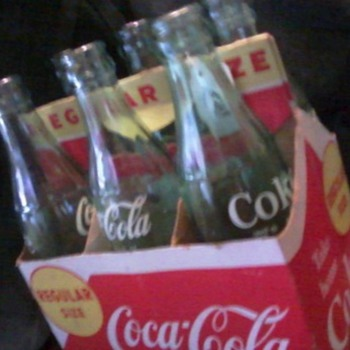 Vintage 6 pack Coca-Cola 6 1/2 oz glass bottle and cardboard carrier - Coca-Cola