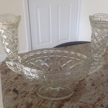Large moulded glass bowl with 2 side pieces