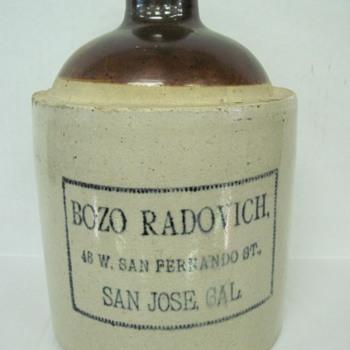 Rare  San Jose Ca. Jug (Bozo Radovich)