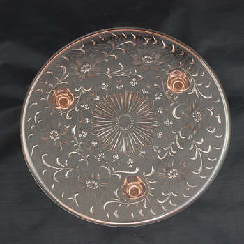 Pink Glass Cake Plate  - Kitchen