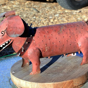 Sheet-metal Fabricated Dogs named &#039;Spike&#039; - Folk Art
