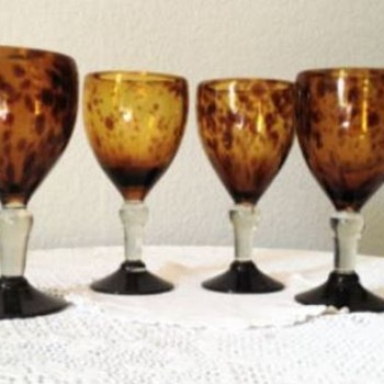 Four Beautiful Tortoise Shell Glasses - Glassware