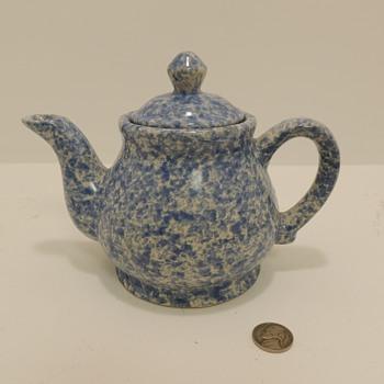 Blue & White Stoneware - Spongeware Teapot - Art Pottery