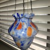 Czech Art Deco Hanging Glass Vase Czechoslovakia 1920's 30's