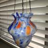 Czech Art Deco Hanging Glass Vase Czechoslovakia 1920's 30's