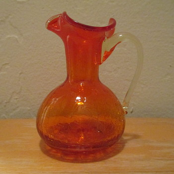Amberina Crackle Glass Decanter - Art Glass