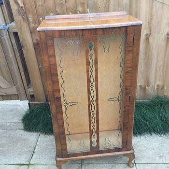 Oak and glass cabinet (1950's ??)