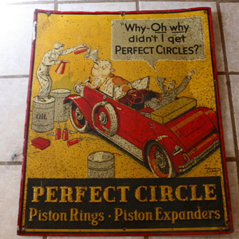 Vintage Perfect Circle Piston Rings Tin Sign - Signs