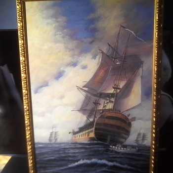 Second Ship Oil On Canvas - Visual Art