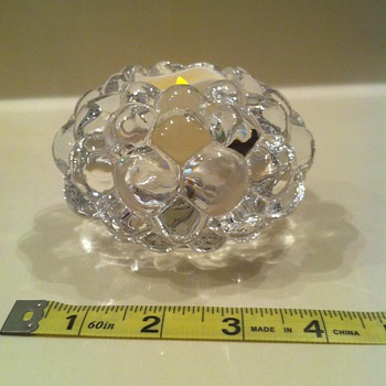 Orrefors Anne Nilsson Raspberry Crystal Votive  - Art Glass