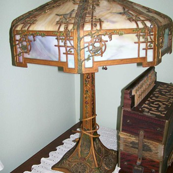 1920's ornate stained glass lamp