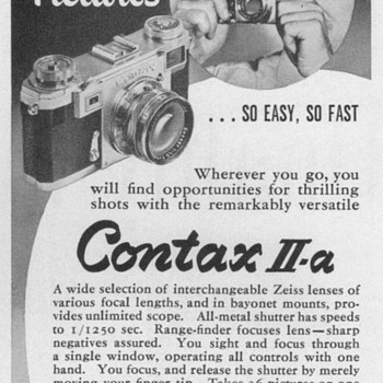 "1952 - Zeiss ""Contax II-A"" Camera Advertisements - Advertising"