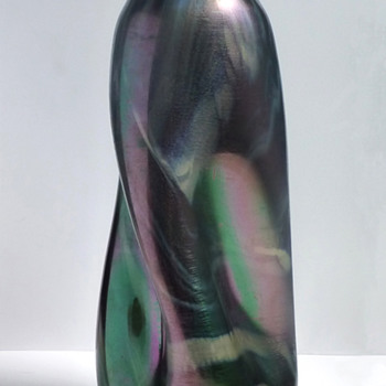 Rindskopf Marbled Twist Vase - Art Glass