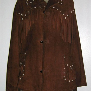 Funky 1970's suede jacket w/fringe and eyelets