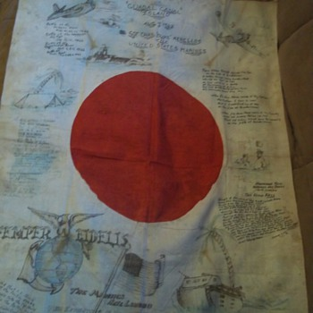 capured flag 1942-1943 japenese , my gradfathers, the flag went on tour in the states in 1944 - Military and Wartime