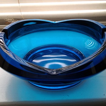 Mid-Century Blue Glass Ashtray