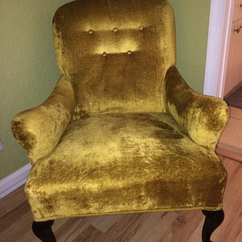 Vintage Gold Velvet Chair - not sure of origin