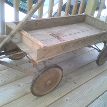 Wood 'Speedmore' Ball Bearing Coaster Wagon Possibly by Belknap Hardware and Manufacturing?  - Toys