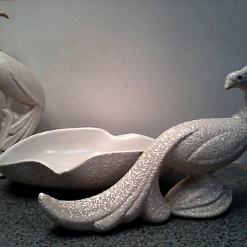 Pheasants and Biomorphic Bowl Centerpiece Set /White Orange Peel Finish/Circa 1950's-60's - Art Pottery