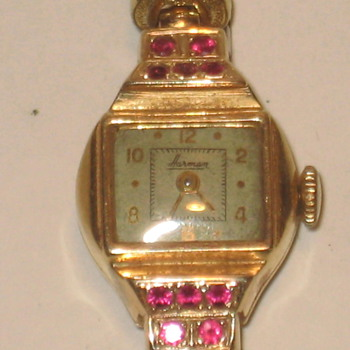 Gold and Ruby Watch 14k by Harman Watch Co. - Wristwatches