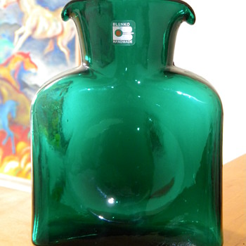 Vintage Mid Century Blenko Double Spout Green Vase