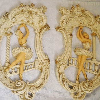 1961 Universal Statuary Corp. Ballet Dancer Wall Plaques - Art Pottery