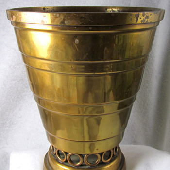 UNKNOWN MAKER ART DECO BRASS POTS