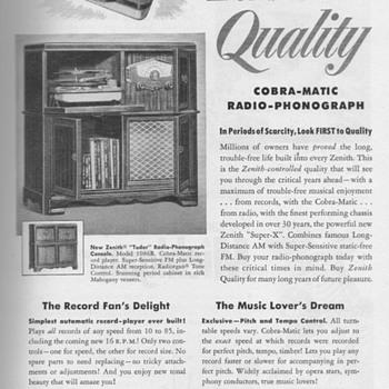 1951 - Zenith Radio/Phonograph Advertisement - Advertising