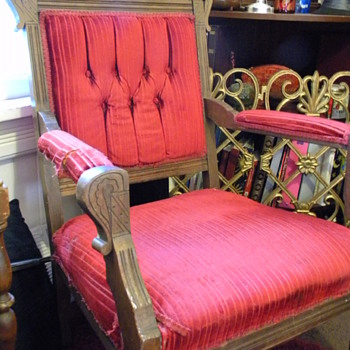 Carved red velvet Ally Chair - Furniture