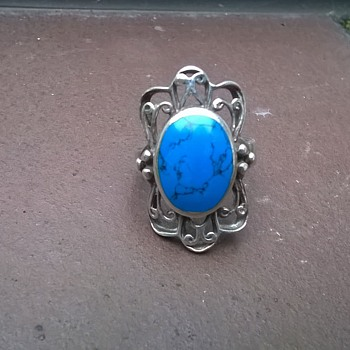 Bisbee (?) Spiderweb (?) Turquoise & Sterling Ring, Flea Market Find 4 Bucks