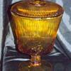 "Depression Glass Candy Dish"" Amber"""