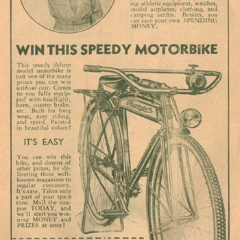 1932 Ranger Motorbike Advertisement - Advertising