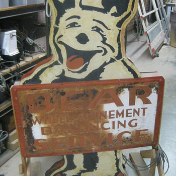 1940's BEAR ALIGNMENT / BEAR MANUFACTURING Metal Sign / Double Sided - Signs