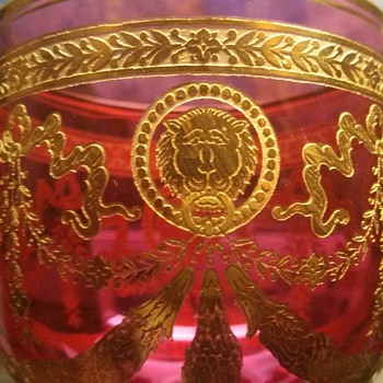 4 Amazing Ruby Flashed/gold Goblets- Bohemian?