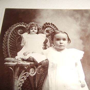 Cabinet card of Southern child with her Doll
